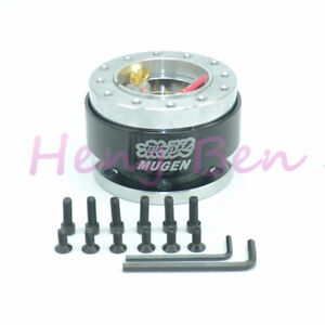 Black Mugen Aluminum Universal Steering Wheel Quick Release Hub Adapter Boss Kit