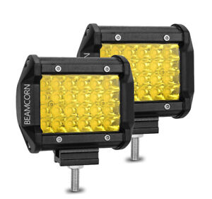 Beamcorn 4 Inch 72w Yellow Led Bar Pods Amber Spot Off Road Lights Reverse Light