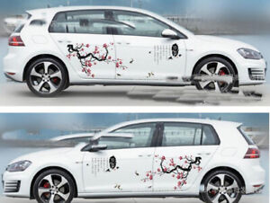 A Set Rose Red Plum Blossom Car Lovely Auto Body Flower Decal Emblems Stickers