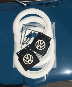 For Old Vw Beetle Pre Bug 15 Tire 3 Wide White Wall And Mud Flaps Set 6 Piecs