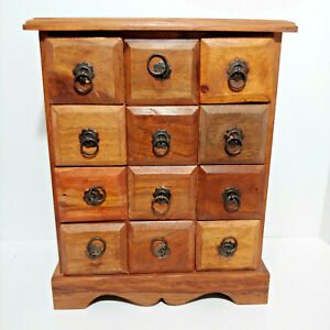 Primitive Wood Cabinet Apothecary 12 Drawer Spice Chest Rustic Farm Vintage