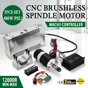 Cnc 400w Brushless Spindle Motor Speed Controller Mount 600w Psu Stable
