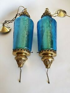 Mid Century Mod Crinkled Blue Glass Pair Of Pendants Ceiling Vintage Lights Wow