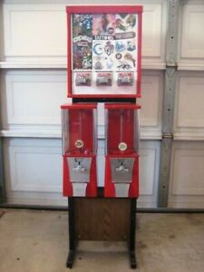 Two Eagle oak Vista Candy toy gumball Machines 3 Way Tattoo Box On Frame Stand