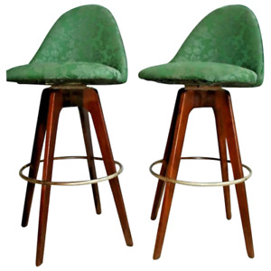 Mid Century Walnut Bar Stools By Chet Beardsley Swivel Seats With Back Set Of 2