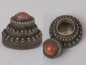 Vintage Sterling Silver Pill Box Snuff Box Ornate Amber Stone Marked Israel 925