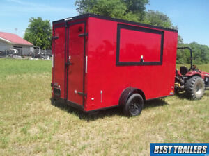 2019 6x12 New Concession Vending Trailer Red 6 X 12 Enclosed Cargo Blackout