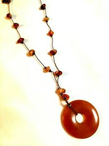 Orange Chinese Jade Carved Disc Pendant Necklace