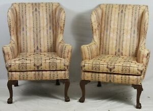 Pair Of Kittinger Williamsburg Chippendale Mahogany Wing Chairs Damask Cw 104