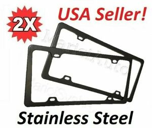 2x Universal High Quality Stainless Steel Metal License Plate Frame Pair Black