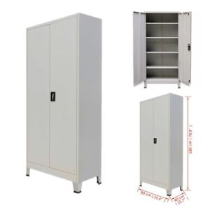Metal Office Filing Cabinet Lock Cupboard Document Storage Shelves Organizer Us