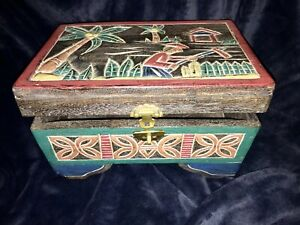 Vintage Chinese Hand Carved Painted Wood Folk Art Documents Chest Storage Box