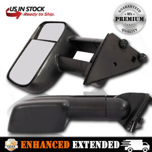 Fits 1988 1998 Chevy C K Truck Manual Telescopic Towing Mirror Side Mirrors Pair