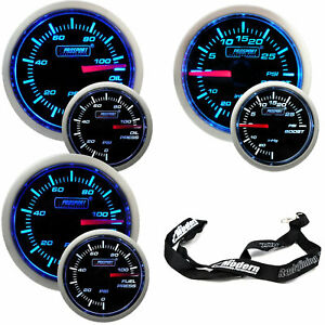 Prosport 52mm Electric Blue White Gauge Kit Boost Oil Pressure Fuel Pressure