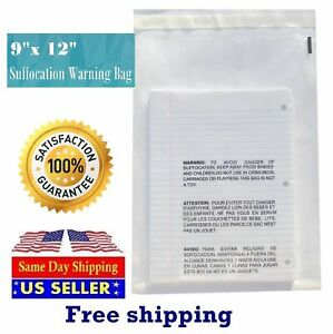 500 9x12 Self Seal Suffocation Warning Clear Poly Bags 1 5 Mil St Shipmailers