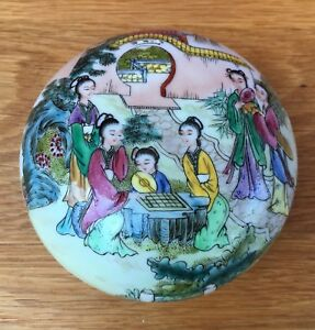 Finely Painted Chinese Republic Period Porcelain Box And Cover With Seal Mark