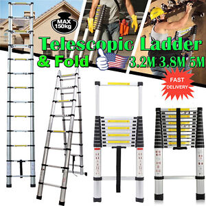 Aluminum Telescopic Roof Climb Loft Folding Hatch Attic Stairs 3 8m 5m Ladder