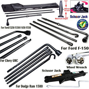 Spare Tire Tools Lug Wrench Scissor Jack For Dodge Ram 1500 Ford Chevy Truck