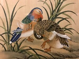 Vtg Original Chinese Asian Art Painting Silk Birds Foliage Signed Seals 22x15 5