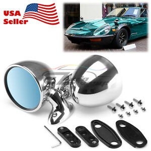 Universal Chrome Hotrod Muscle Car Vintage Side Mirror Driver Passenger Fender