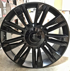 26 Cadillac 2017 Style Rims Satin Black Wheels Tires Fit Escalade Gmc Tahoe Ltz