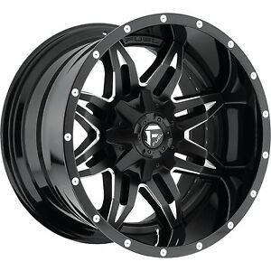 20x10 Fuel Lethal Rims Black Offroad Wheels 33 Mt Tires Fit Lifted Chevy Ford