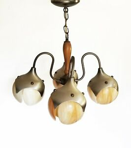 Mcm Glass Slag Water Lily 4 Pendants Chandelier Aluminum Wood Light