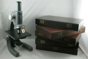 Bausch Lomb Working Monocular Microscope 43x 10x Five Old Wood Slide Boxes