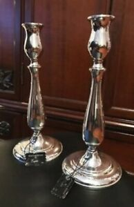 Antique Pair Of 9 1 2 Empire Sterling Silver Candlesticks