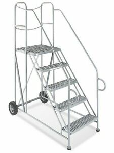Uline 5 Step Rolling Ladder W Trailer Access 800 Lb Warehouse retail Free Ship