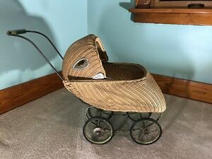 Antique Hedstrom Union Wicker Baby Doll Carriage Pram Stroller Buggy