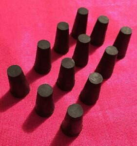12 Black Rubber Test Tube Plugs Stoppers Size 00