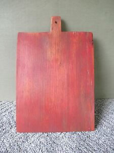 Vintage Cutting Board Primitive Pine Wood Dough Carving Bread 13 X9 Red Paint