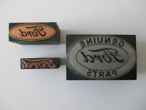 Vintage Printing Block letterpress printers Ford Motor Company Logo Lot Of 3