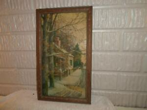 Old Wood Picture Frame Winter Scene 6 5 X 11 75 Inches 998