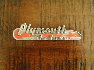 1938 1939 Plymouth Deluxe Automobile Emblem Badge Ornament Trim Name Plate