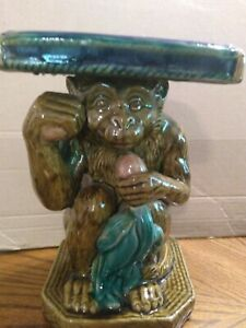 Beautiful Porcelain Pottery Chinese Monkey Plant Stand