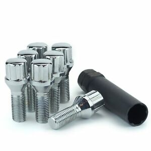 20 Lug Bolts 14x1 5 Chrome Conical 6 spline Stud Bolt 30mm One Key tool