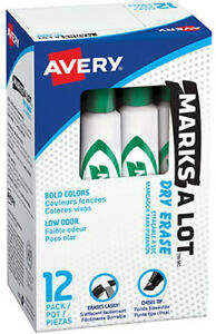 Avery Marks a lot Dry Erase Markers Whiteboard Bold Chisel Tip 12 Pack Green