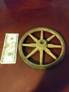 Antique Vintage Wooden Wood And Rubber Wagon Cart Wheel Primitive Rustic Old