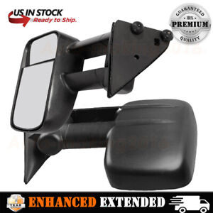 Fits Chevy Gmc Pickup Truck Suv Towing Mirror Manual Textured Black Pair Set L R