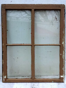 29 X36 Antique Vintage Solid Wood Wooden Frame Sash Window 4 Glass Lites Panes