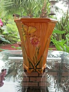 Antique Glazed Clay Art Deco Style Mojolica Vase Planter Butterfly Iris Bamboo