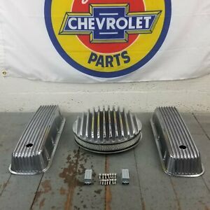 Chevy Bbc 14 Finned Air Cleaner Valve Covers Engine Dress Up Kit 427 454 Crate