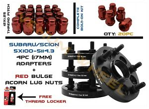 5x100 To 5x114 3 5x4 5 17mm Hubcentric Wheel Spacers 4pc 20pc Red Lug Nuts