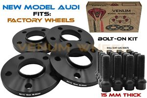 4 Pc Audi 66 56 15 Mm Wheel Spacer Kit Bolts Compatible With 2009 2018 Audi S