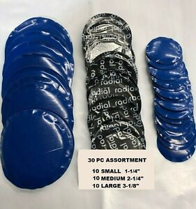 30 Pc Radial Repair Round Assorted Tire Patch Small Medium Large