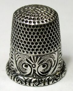Antique Ketcham Mcdougall Sterling Silver Thimble Chased Palmette Ferns C1890s