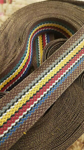 Antique Vtg French Gold Lame Woven Trim Bty 1 7 16 Wide Blue Red Yellow 1920s