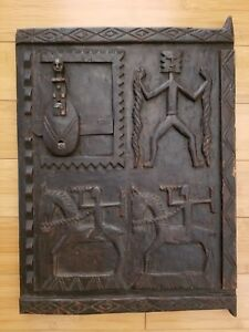 Antique Dogon African Wood Granary House Door Window Shutter Sliding Lock Mali